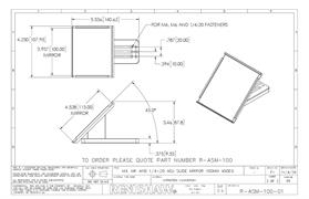 Technical drawing:  R-ASM-100 adjusting slide mirror 100 mm 45 Deg
