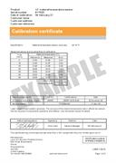 Certificate of calibration:  XC-80 material temperature sensor (recalibration)